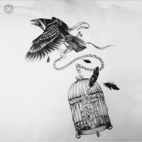 black raven, caged bird, key, womens empowerment, fly free